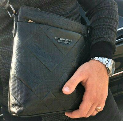 Продано: Мужская кожаная сумка мессенджер Burberry черная