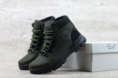 Мужские зимние кожаные ботинки IF12 зел