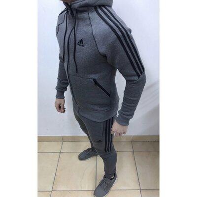 Костюм спортивный теплый в стиле Adidas 8321-26 серый