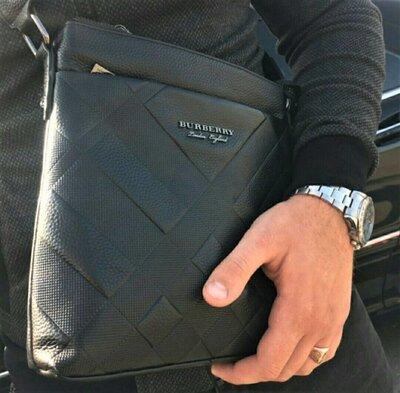 Мужская кожаная сумка мессенджер Burberry черная