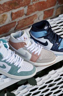 кроссовки , топ реплика Nike Air Jordan 1 turbo , 3 цвета ,жен и муж размеры