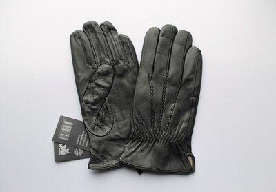 Мужские кожаные перчатки подкладка шерстяная вязка черные