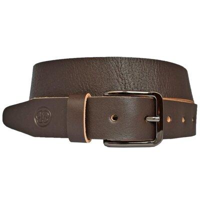 Ремень кожаный коричневый мужской под джинсы Kavaler