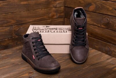 Мужские зимние кожаные кроссовки Х500 кор