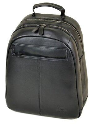 Большой кожаный мужской рюкзак черный