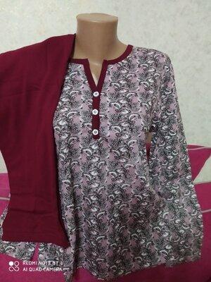 Пижама женская теплая хлопок на байке с начесом Узбекистан р.46