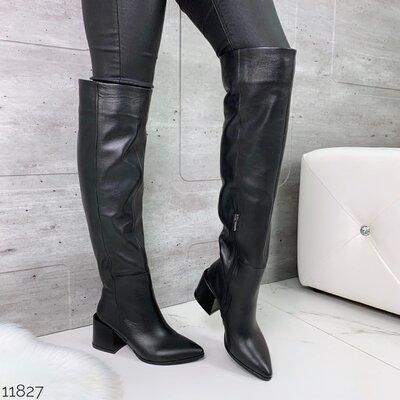 Женские натуральные кожаные демисезонные чёрные сапоги ботфорты на устойчивом каблуке