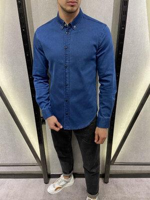 Стильная мужская джинсовая рубашка S-XXL