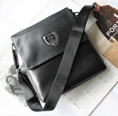 Мужская сумка из натуральной кожи Philipp Plein черная