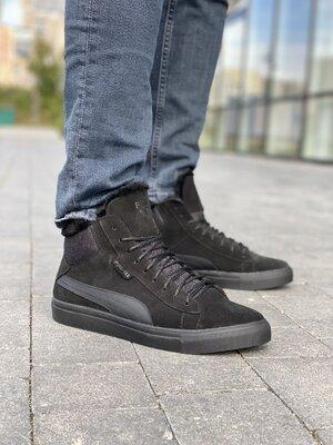 Мужские ботинки замшевые зимние черные New Man P26-2
