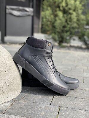 Мужские ботинки кожаные зимние черные New Man P1-1