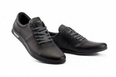 Мужские кроссовки кожаные весна/осень черные Milord Olimp