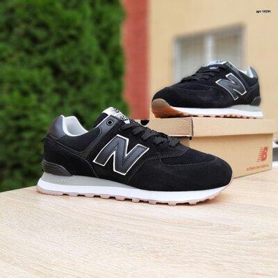 Мужские кроссовки New Balance 574 Чёрные, замш