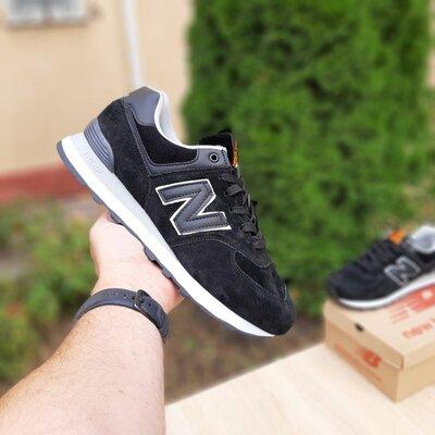 Мужские кроссовки New Balance 574 Чёрные, замш 41-46р