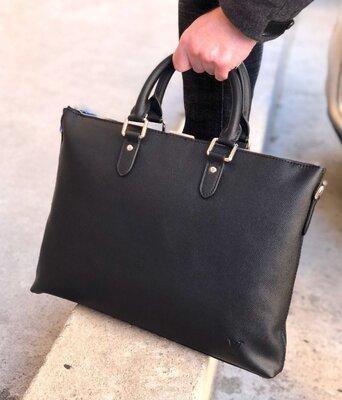 Портфель мужской кожаный черный деловой брендовый Louis Vuitton