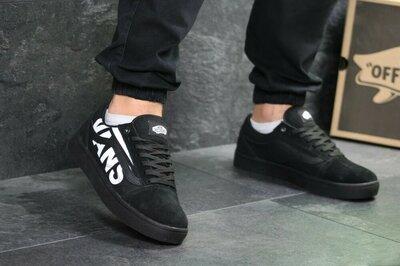 Топ Мужские кроссовки черные vans vens стильные подростковые кеды слипоны