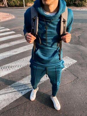 Варианты. Стильный мужской спортивный костюм синий oc15