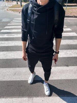 Варианты. Стильный мужской спортивный костюм черный oc6