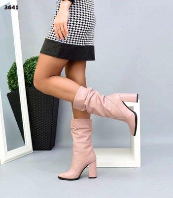 Женские натуральные кожаные замшевые полу сапожки на устойчивом каблуке