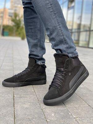 Мужские ботинки замшевые зимние черные