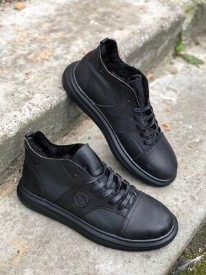 Мужские кожаные зимние ботинки на меху теплые стильные модные сапоги угги удобные комфортные премиу