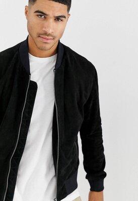Мужская крутая черная натуральная замшевая куртка бомбер bolongaro trevor замшевый бомбер