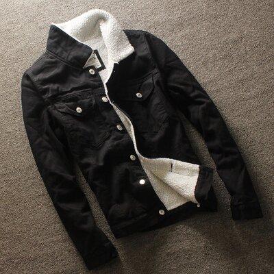 Куртка мужская джинсовая черная на меху и в рукавах демисезон/еврозима