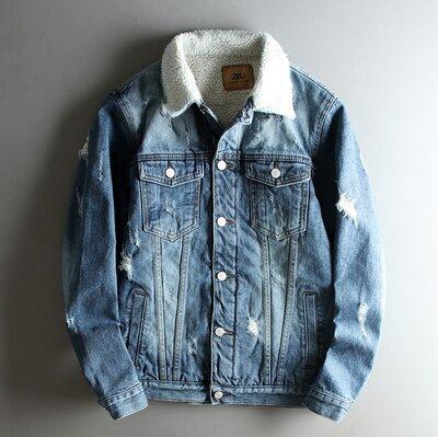 Куртка мужская джинсовая ретро на меху демисезон/еврозима