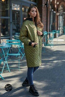 Жіночі демісезонні куртки Стьобаний плащ з капішоном Удлиненная женская стеганая куртка хаки
