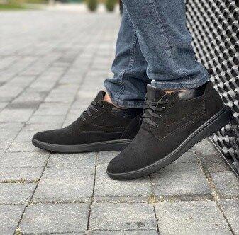 Зимние мужские ботинки Vankristi, черные натур.замша