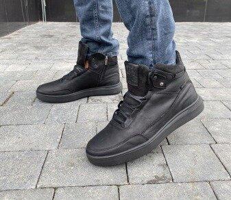 Зимние мужские ботинки Belvas, черные натур.кожа