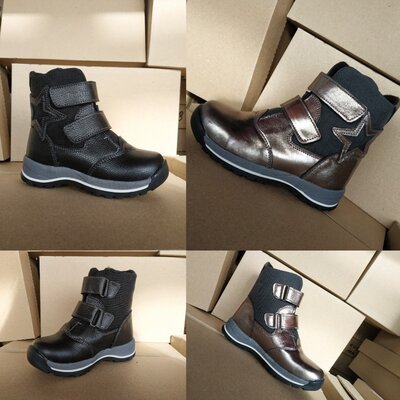 Зимние кожаные ботинки на девочку на липучках 23-31 размеры