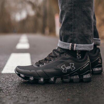 Модные мужские кроссовки Under Armour, Топ качество, черные, р. 40-45, 003-376