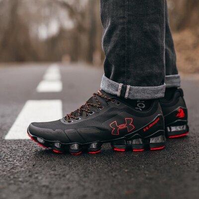Модные мужские кроссовки Under Armour, Топ качество, черные, р. 40-45, 003-377