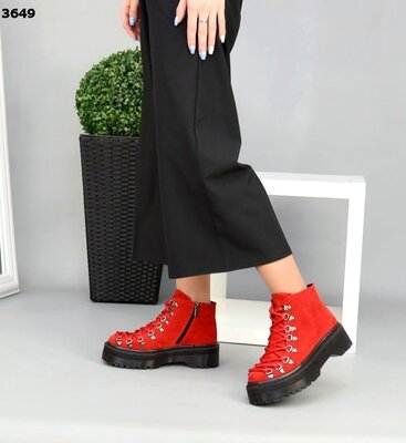 Женские натуральные замшевые желтые красные ботинки на шнуровке на низком ходу