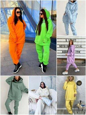 Тёплый костюм в стиле оверсайз в 7 цветах 42 - 52