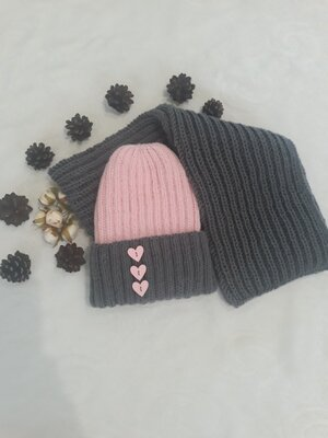 Комплект дитячий вязаний шапка шарф