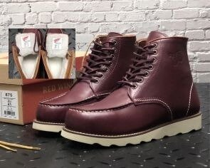 Зимние мужские ботинки Red Wing. Натуральная кожа, иск.мех. Bordo