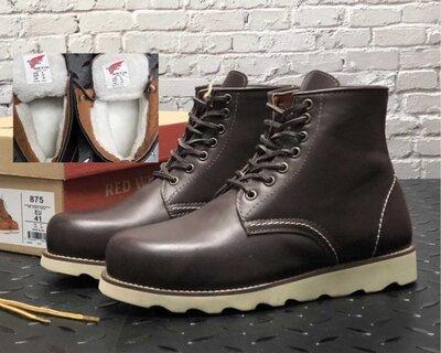 Зимние мужские ботинки Red Wing. Натуральная кожа, иск.мех. Brown