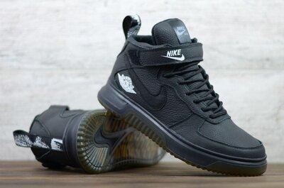 Лучшее качество. Зима. Украина. Мужские кожаные зимние кроссовки Nike черный Б01-06 ч.фл