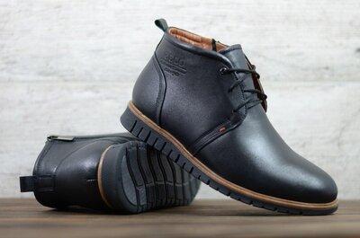 Лучшее качество. Зима. Украина. Мужские кожаные зимние ботинки Ecco черный Б8/4