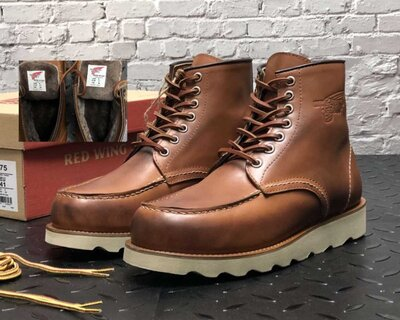 Зимние мужские ботинки Red Wing. Натуральная кожа, натур. мех. Light Brown