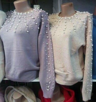 Кашемировый свитер с жемчугом 3 цвета