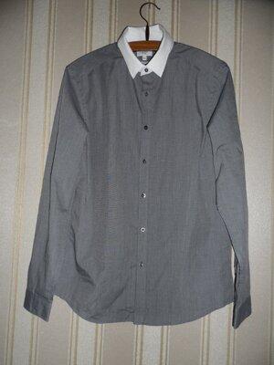 мужская серая рубашка длинный рукав размер 40 //L