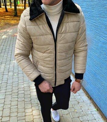 Варианты. Мужская осенняя куртка на меху бежевый verh3