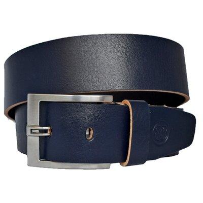 Ремень кожаный синий широкий мужской под джинсы Mustang