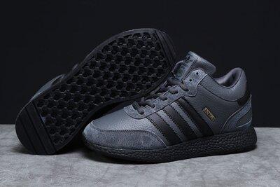 Зимние мужские кроссовки 31282 Adidas Iniki, темно-серые Натуральная кожа/натуральный мех