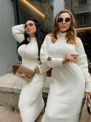 Вязаное платье до 58 размера Футляр
