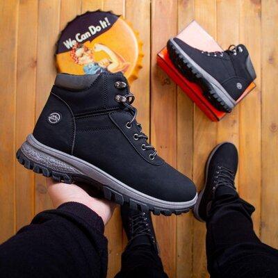 Мужские ботинки Маунт чорні сіра 0702