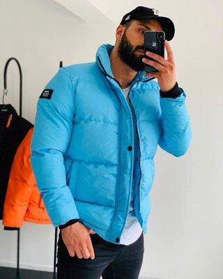 Теплые обьемные мужские куртки, однотонные и с принтом, 6 цветов